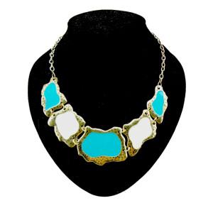 N-0258 Punk geometric irregular Enamel Vintage style Necklace