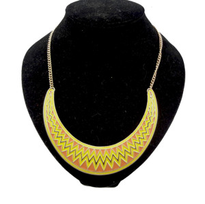 N-2104 gold plated geometry crescent Enamel wave Shape Necklace