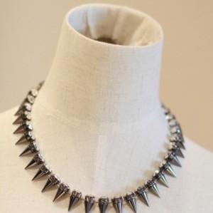 N-1288 Punk silver gold gun black Rivets rhinestone choker necklace