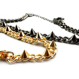 N-1309 gold plated punk rock gold gun black metal rivet necklace
