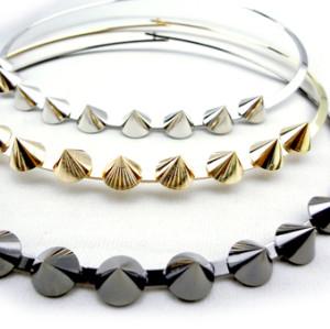 N-2020 silver gun black gold plated punk rock rivet necklace