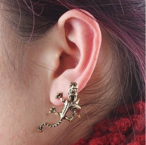 E-1206 Punk Gothic cute Dragons Ear Cuff Stud Earring