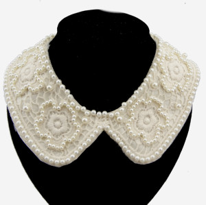 N-2033 All-match Full Pearl flower lace Collar Necklace