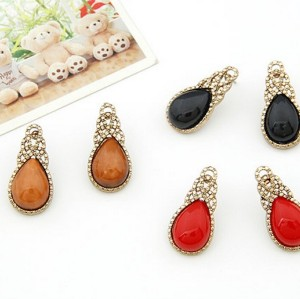 E-0257 Korea Style retro copper tone alloy drip gem ear stud