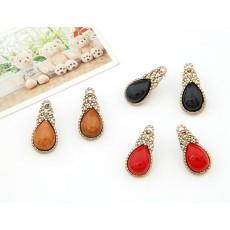 E-0257 Korea Style retro copper tone alloy drip gem ear stud