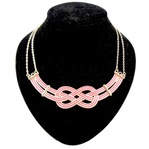 N-4521 punk gold plated metal enamel stripe knit Geometric Necklace