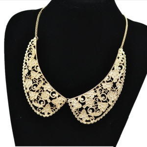 N-2024 gold plated Metal Hollow Out Lace Design Flower Collar Choker Necklace
