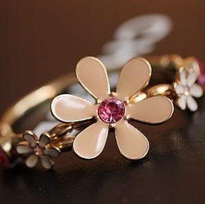 B-0275 gold plated pink crystal enamel flower stretch bracelet