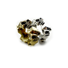 R-0063 wholesale 2 pieces bronze silver skull ring