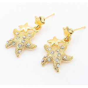 Korean Style 2 Colors Star Rhinestone Sea Starfish Dangle Stud Earings E-1585