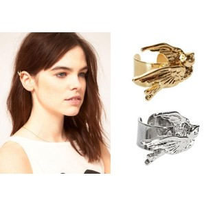 E-0621 2 pieces silver gold plated swallow ear cuff