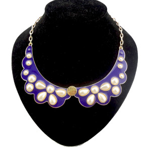 N-1280 gold plated enamel angel wing pearl flower shape collar necklace