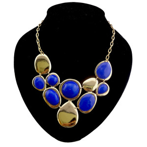 European style gold plated enamel faux gem drip  necklace