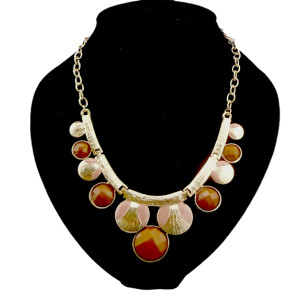 N-0572 European style gold plated enamel faux gem  Movable chain round  choker necklace