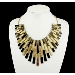 N-4517 European style Geometric spot enamel rectangular fringed symmetrical necklace