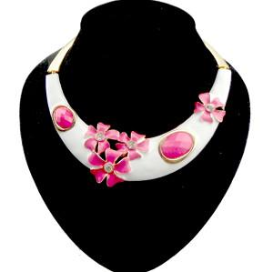 N-2026 blue and white porcelain style enamel flower rhinestone gem hoop necklace