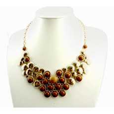 N-0569 gold plated Symmetric geometry Round Gemstone Necklace