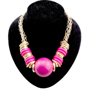 N-0289 National style multilayer gold plated chain lots hoop  big ball Necklace