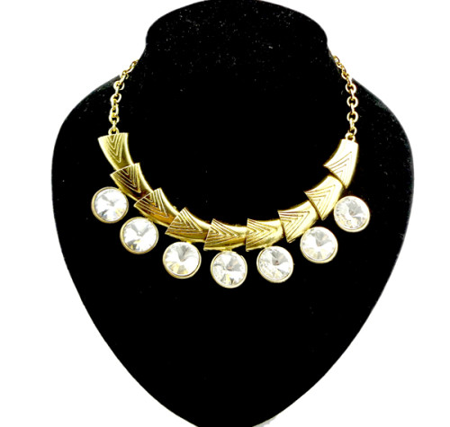 New vintage gold/silver metal geometry chain crystal choker necklace N-1039