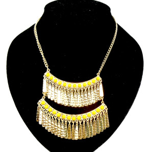 Bohemia Style gold plated beads Double-deck tassels necklace N-0762