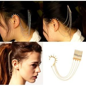 silver gold plated rivet tassels ear cuff tuck comb hairpin E-0095