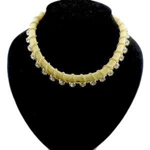 New Style gold gun black  snake chain crystal choker necklace N-1009-0