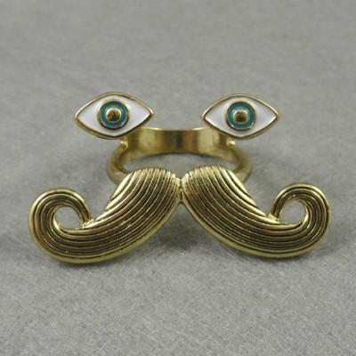Vintage Style  bronze/vintage silver enamel eye Cosplay Mustache ring R-0187