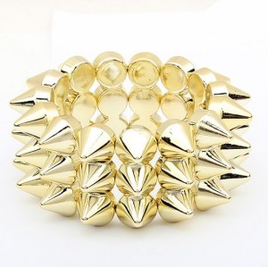Punk Gothic rock rivet stretch bracelet B-0012