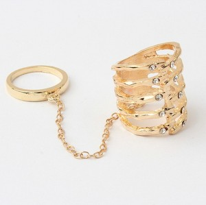 gold plated rhinestone hollow out double finger ring R-0060