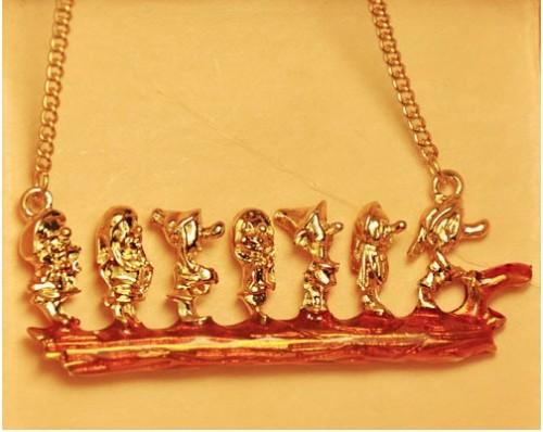 New Style gold tone metal enamel the Seven Dwarfs ring necklace set S-0013