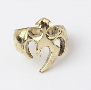retro bronze alloy shield shape ring R-0150