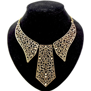 European style  vintage silver / gold rhinestone collar tie shape necklace N-2085
