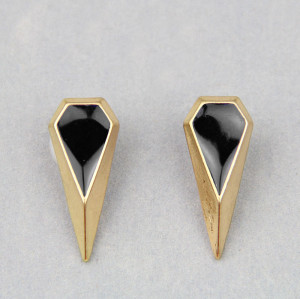2 pairs punk style Geometry polygon enamel rivet ear stud E-2018