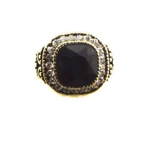 Vintage Style  bronze  rhinestone faux gem ring R-0699