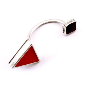 punk style Geometric square triangle ear cuff E-2059