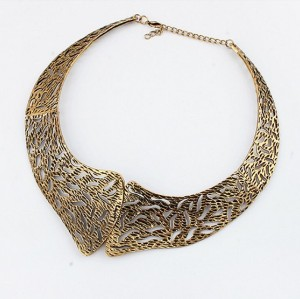 punk style retro bronze hollow out collar choker necklace N-2006