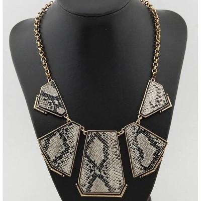 punk style Snake Skin Geometric irregular Necklace N-4550
