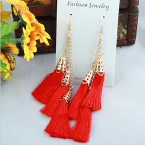 pair gold plated Three layer tassel ear stud earring E-1678