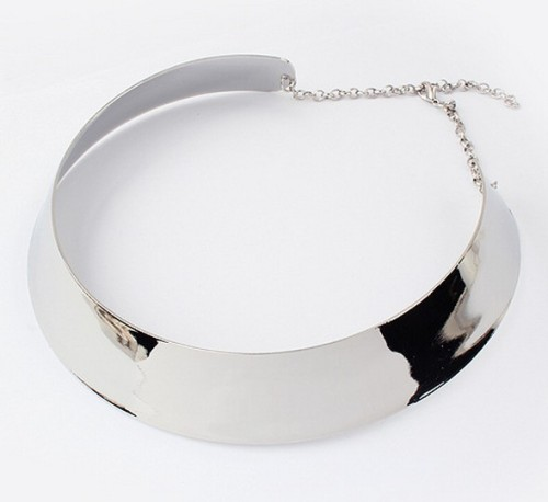 New Style Silver/gold Plated Mirrored  wide cuff Choker Necklace N-2030