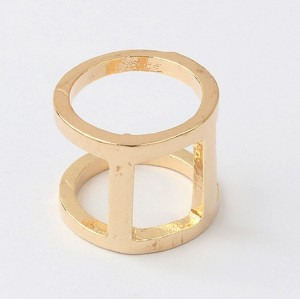 Wholesale 2 Pcs silver gold plated simple cylinder ring R-0058