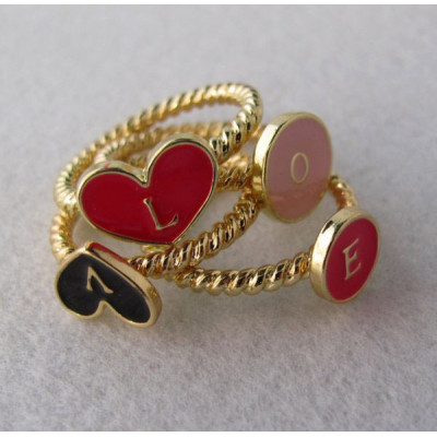 4pieces gold plated enamel love letter ring set R-0613