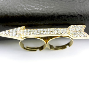 New Comming Gold Plated Rhinestone Crystal Arrow Double Finger Ring R-0531