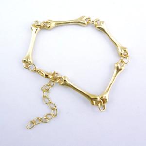 Wholesale 3 Pieces Silver/Gold/Bronze Metal Bone Charm Chain Bracelet B-0104