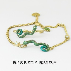 Gold Plated Rhinestone Green Snake anklet foot ring set B-0037