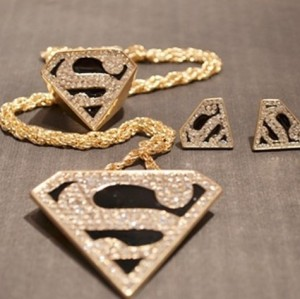European style Gold Plated Black Glazed Rhinestone Letter S Solid Geometry necklace