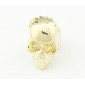 punk rock piece gold/silver/Gun-black plated skull head ear cuff E-1088