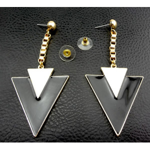 New Enamel Gold Plated Dangle Double Triangle Pendant Ear Stud Earring E-2016