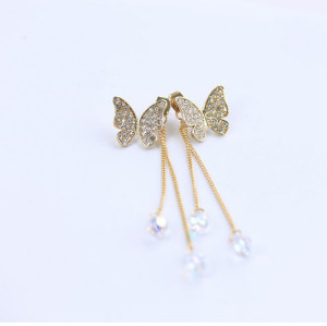 Korean Gold/gun-black Rhinestone Butterfly Crystal Long Tassel Ear Stud Earrings E-1093