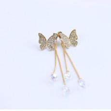 Korean Gold/gun-black Rhinestone Butterfly Crystal Long Tassel Ear Stud Earrings E-1093