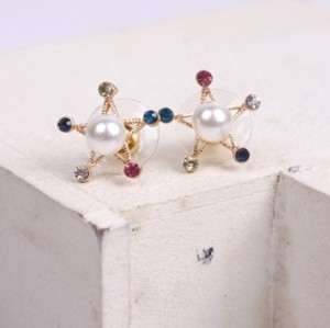 New Colorful Rhinestone Pearl Five-pointed Star Ear Stud Earrings E-1583